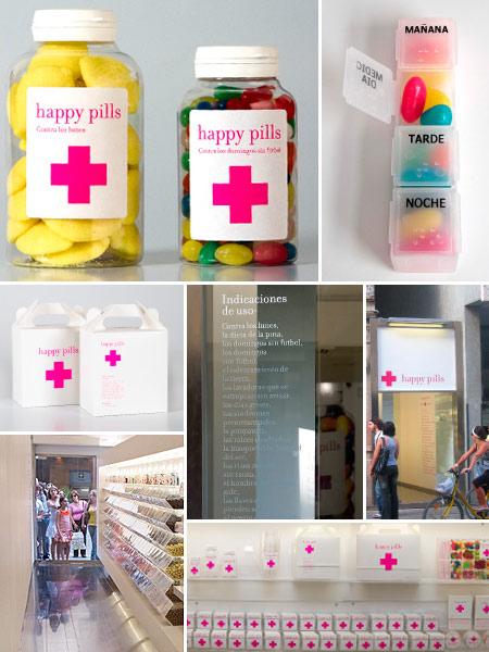 Série de photos qui montrent le magasin et les produits qui s'y vendent. Ce sont des boîtes de bonbons ayant l'esthétique de boîte de médicaments.