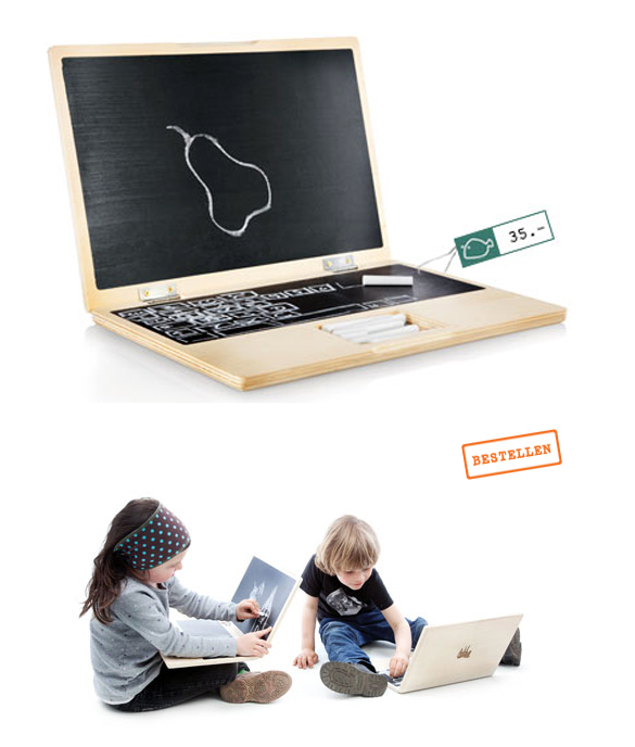 iwood Le MacBookArdoise, un ordinateur en bois pour les enfants.