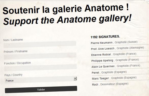 gallllerie La Galerie Anatome, un des rares lieux du graphisme en France risque de disparaître.