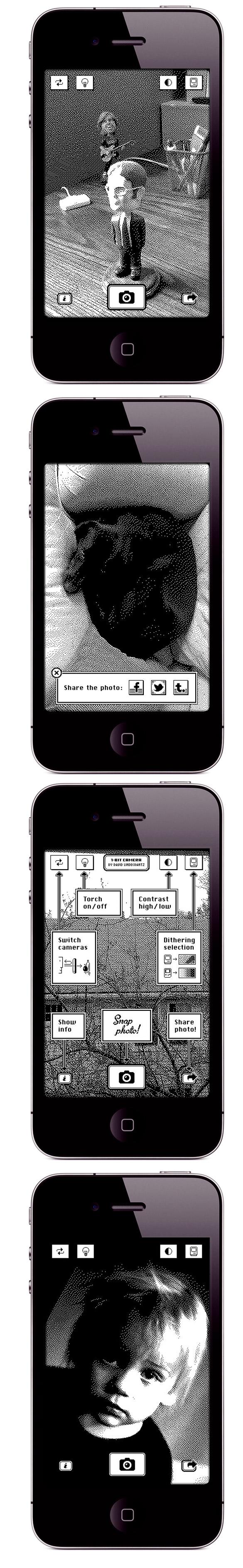 cam2 1 Bit caméra, ou comment transformer lappareil photo de votre iPhone en appareil 1 bit.