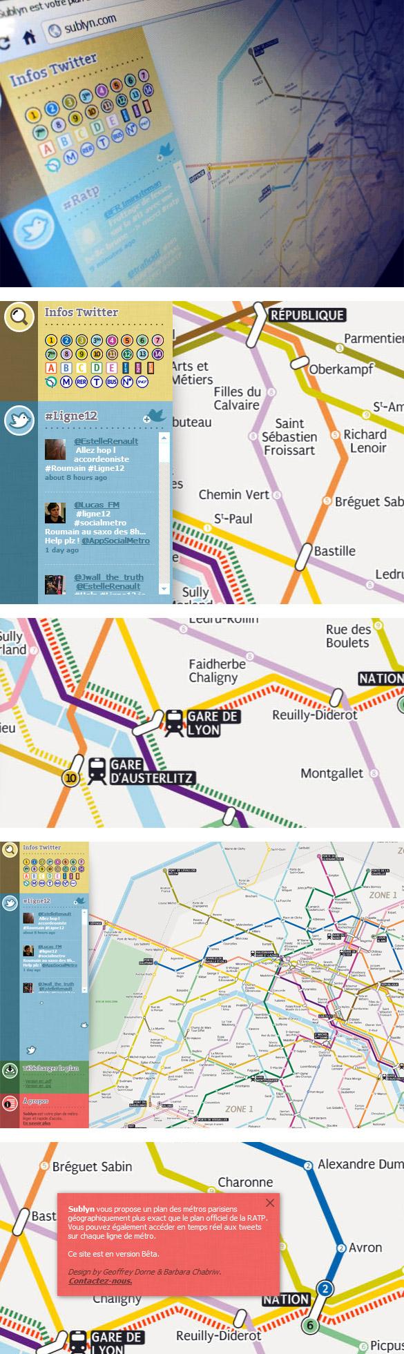 sub22 Sublyn, votre plan de métro parisien en HTML, tout léger et relié en temps réel à twitter !