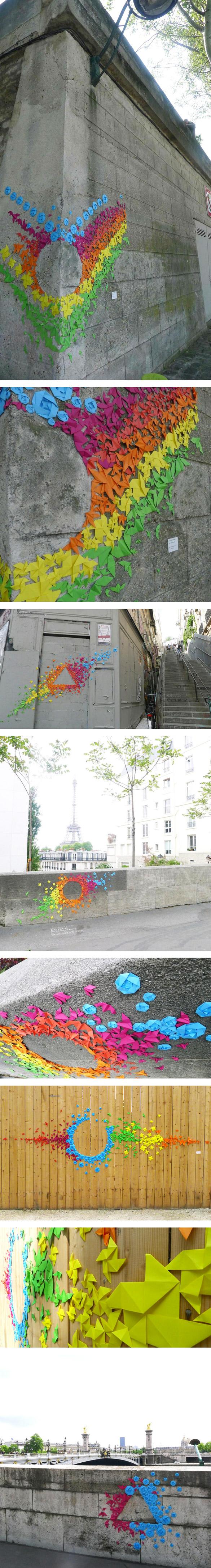 popup Les graffitis de papier à Paris sont signés Mademoiselle Maurice !