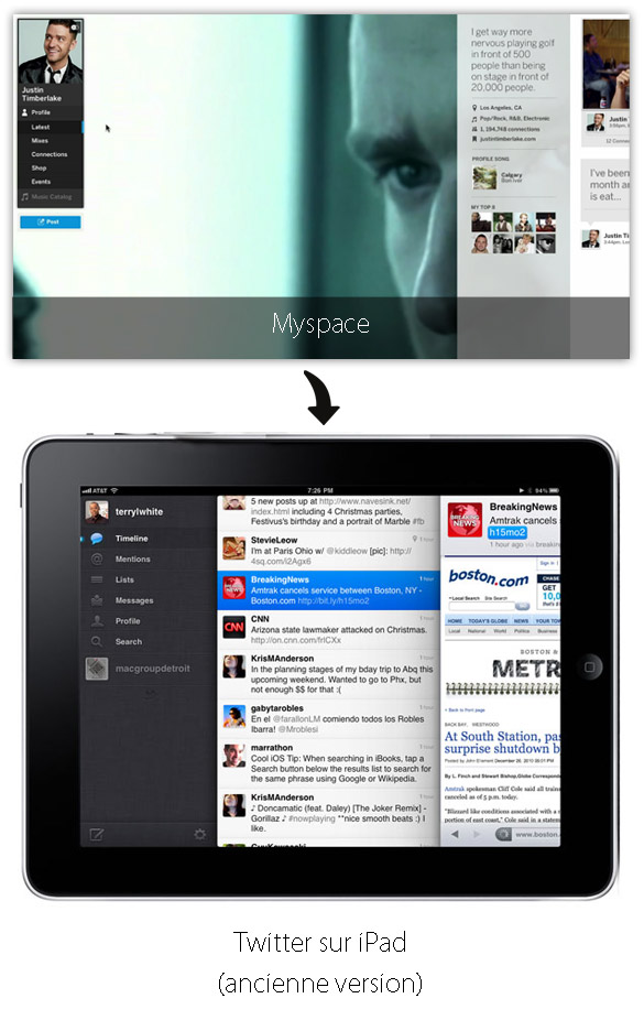 ipad Analyse du nouveau Myspace et des codes du design web contemporains