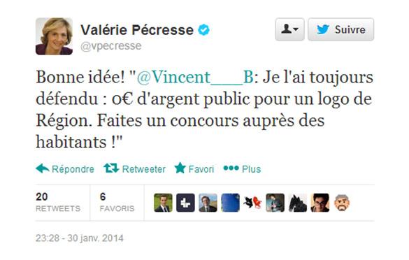Tweet de Valerie Pécresse : Je l'ai toujours défendu : 0€ d'argent public pour un logo de Région.